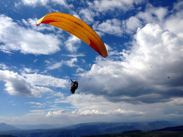 Alya paragliding around San Gil. Awesome place to do this for a very good price!