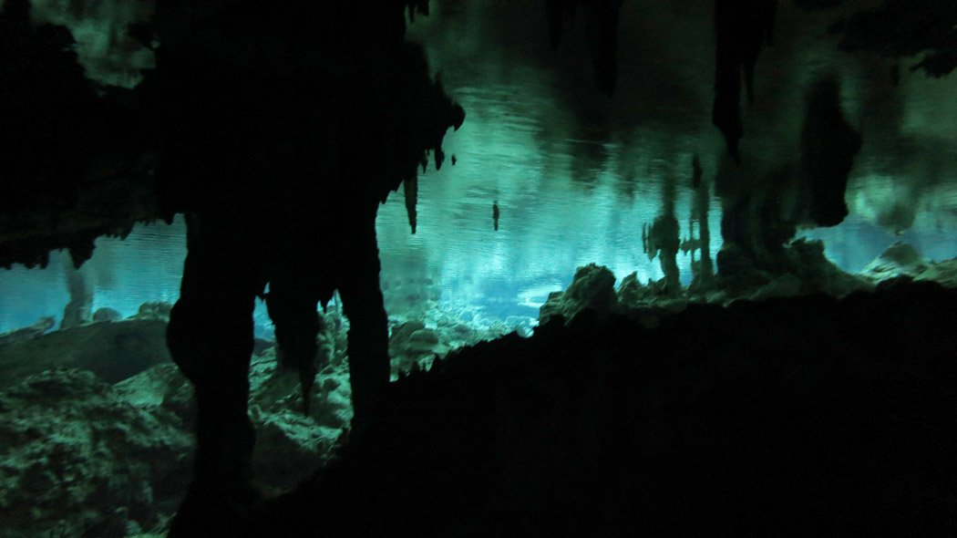 Diving in the Cenote Dos Ojos.