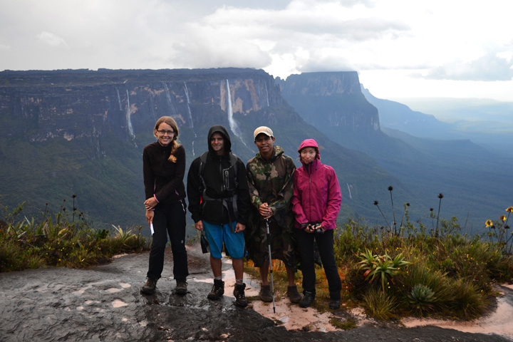 Our group, Jana, Campbell, Luiz and Alya (Martin behind the camera). Roraima trek