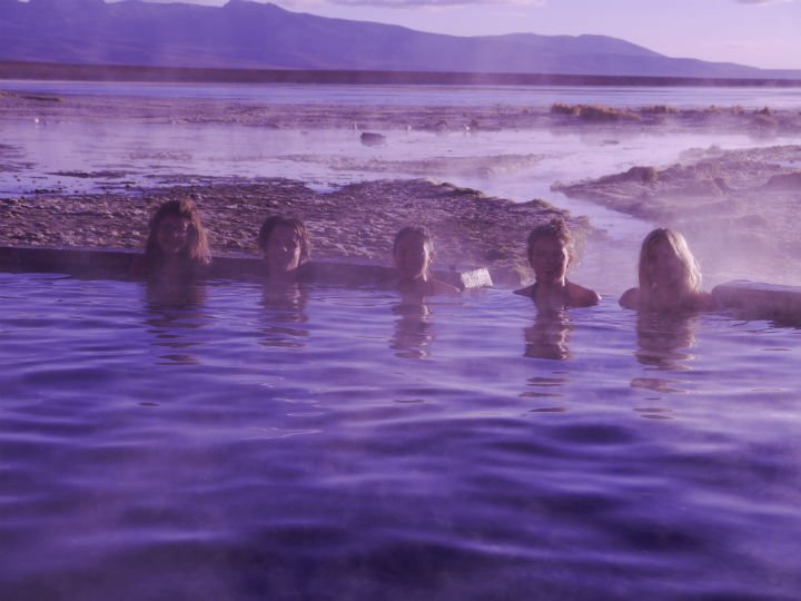 Our whole group in the very hot water of Aguas Thermales (Hot spring) early on a freezing last mornin