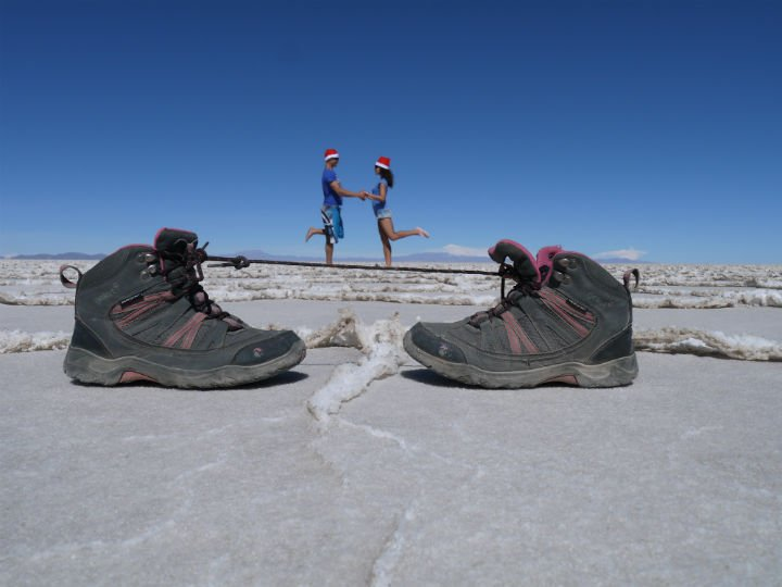 Campbell and Alya, Stingy Nomads at Salar de Uyuni #uyuni #nofilter