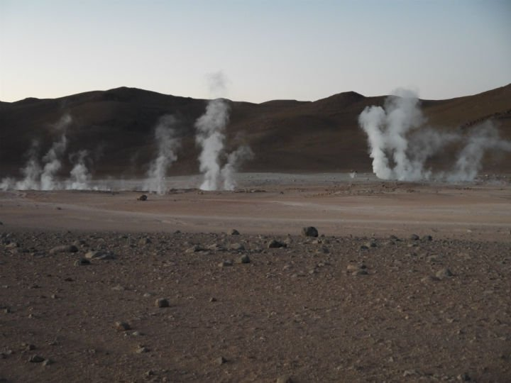 The geyser fields, Sol de Mañana geysers