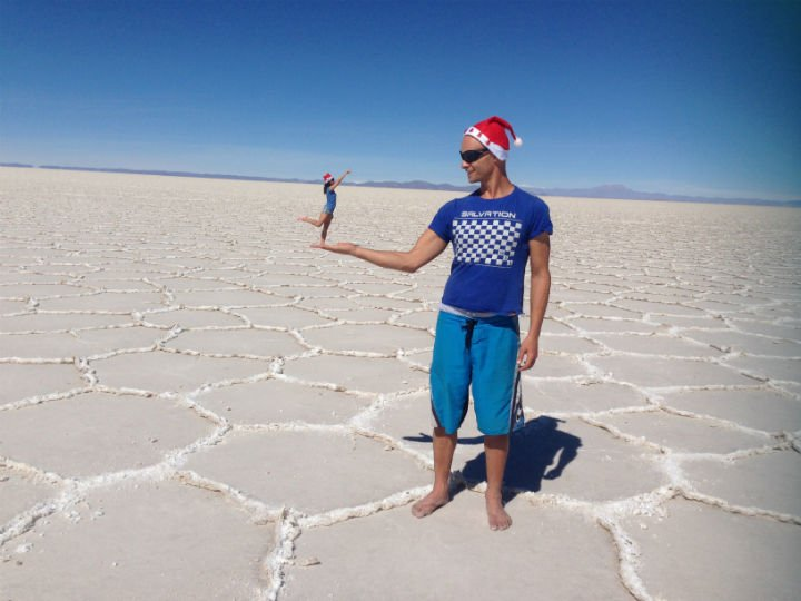 Campbell and Tinkerbell-alya, playing with perspective, Salar de Uyuni
