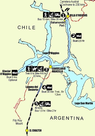 Map of the route from Villa O'Higgins to El Chalten