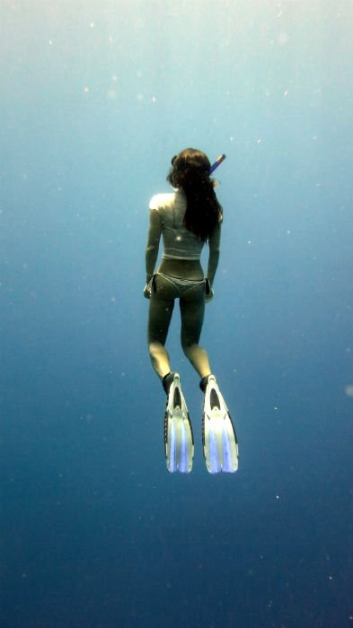 Freediving at West End Beach.
