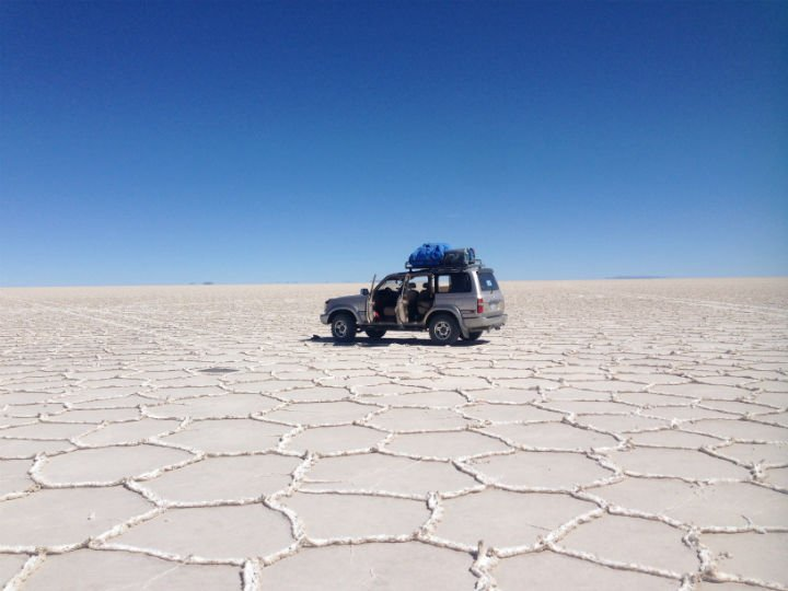 We stopped on the salt flats to take some photos. Uyuni travel guide