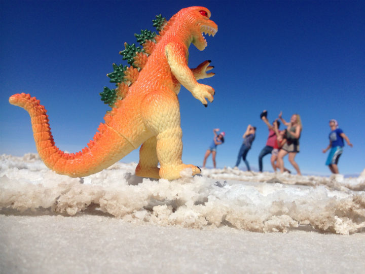 Bring some props! we took some nice photos playing with this little toy dinosaur and perspective. Uyuni travel guide
