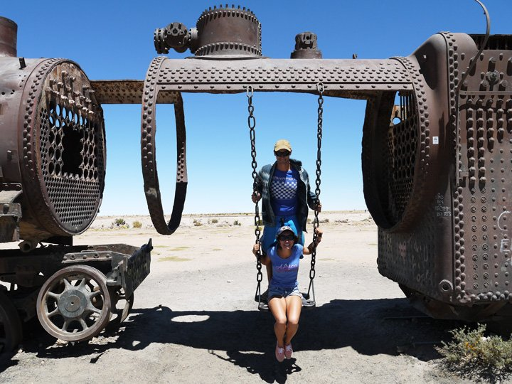 Campbell and Alya, the train grave yard of Salar de Uyuni.