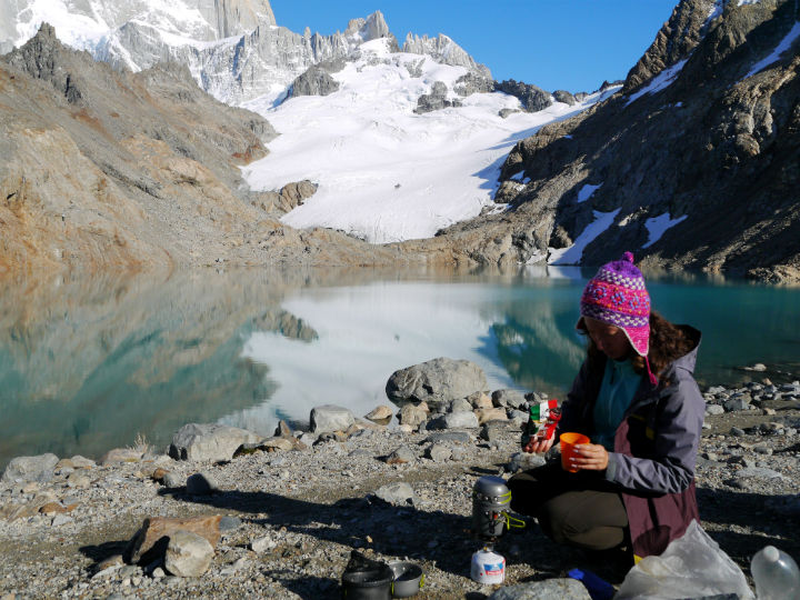 Alya busy making a morning coffee for us at Laguna De Los Tres.