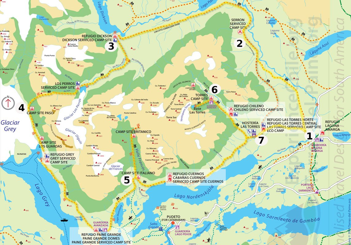 Torres del Paine, O circuit route map.