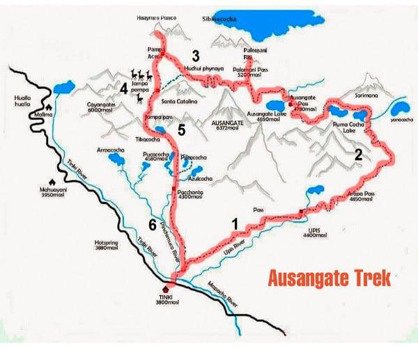 Map of Ausangate trek