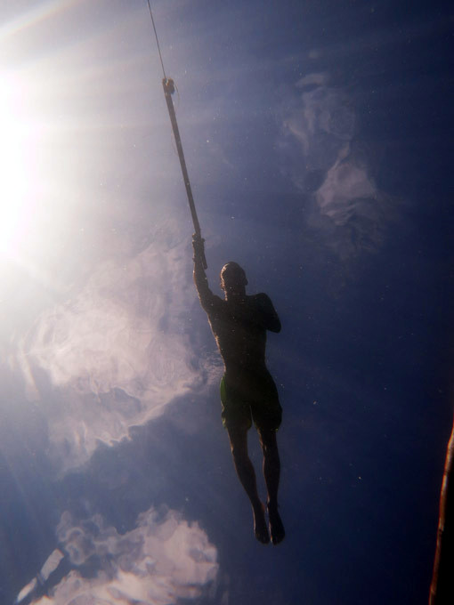 Togean Islands Spearfishing in the crystal clear water, on the surface above me looks like he is floating in the air!