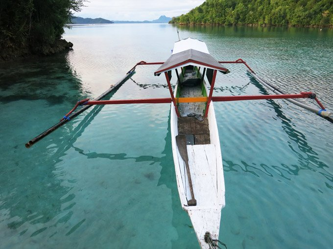 Togean Islands Arriving at Pulau Papan after a long journey by local boat.