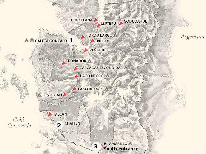 Pumalin park map.