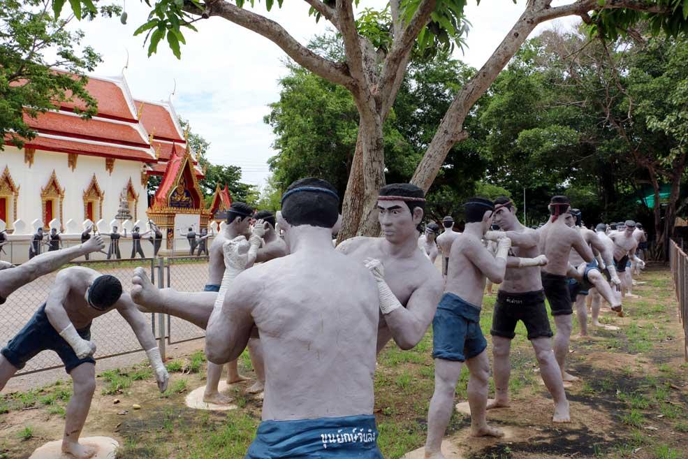 Muay Thai sculptures, Wat Bang Koong, Thailand