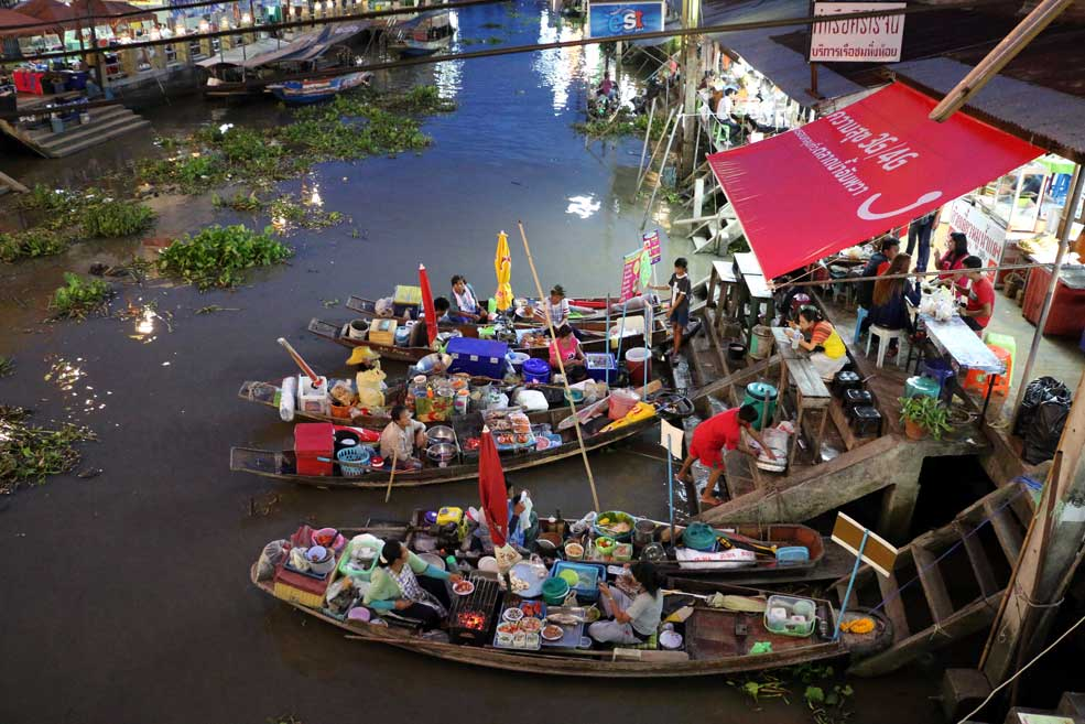 Floating restaurants, Amphawa market, Bangkok