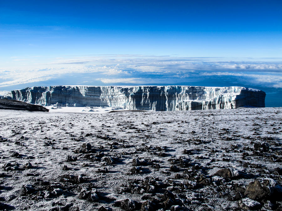 Glaciers on top of Kilimanjaro.