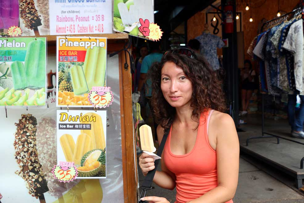 Me trying durian ice-cream, Chatuchak market. After test is quite nice, sweet and fruity