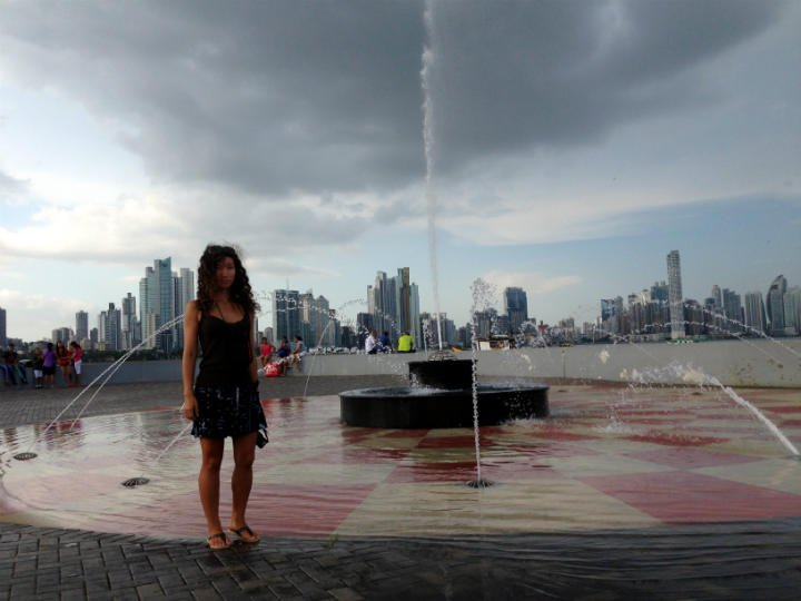 Alya on a stormy day in Casco Viejo, Panama City
