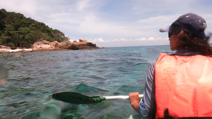 Me paddling around Perhentian island. It was very hot!