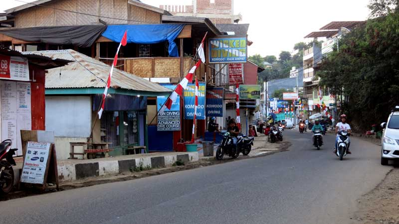 Labuan Bajo, main street. Not the most beautiful place.