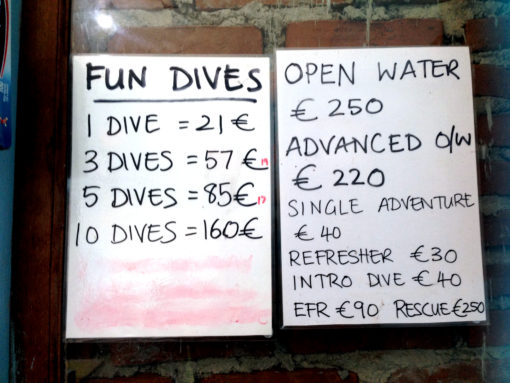 Diving Pulau Weh, prices for Iboih Divers, August 2016