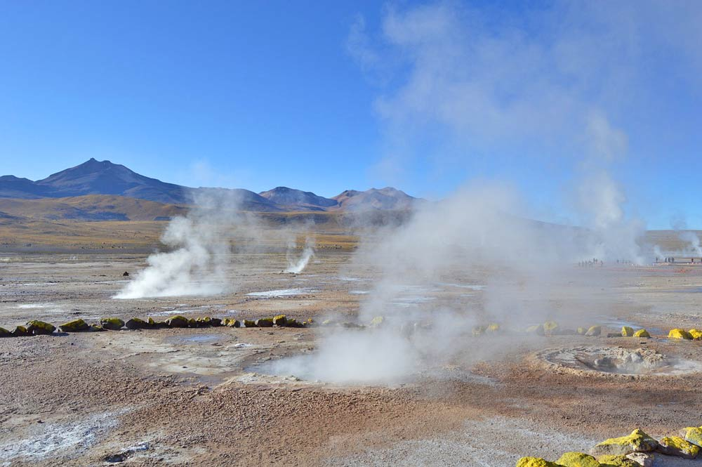 Many steaming geysers in El Tatio geyser field, Atacama desert