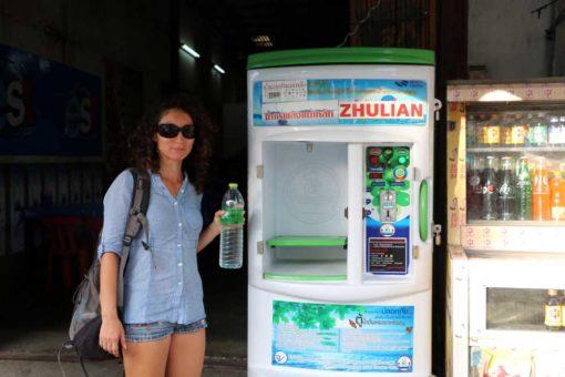 Water dispenser machine. Kanchanaburi backpacking guide