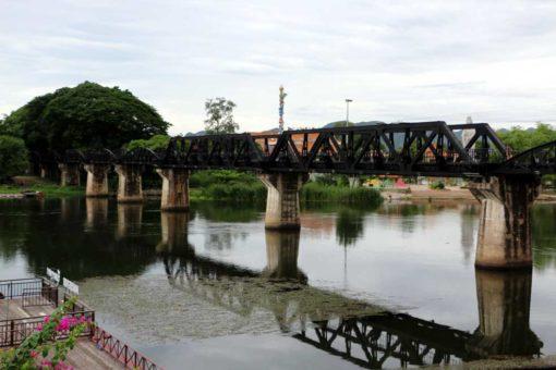 Famous bridge over the river Kwai. Kanchanaburi backpacking guide