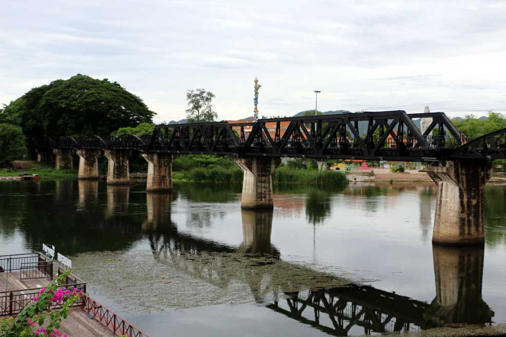 Famous bridge over the river Kwai. Kanchanaburi backpacking guide