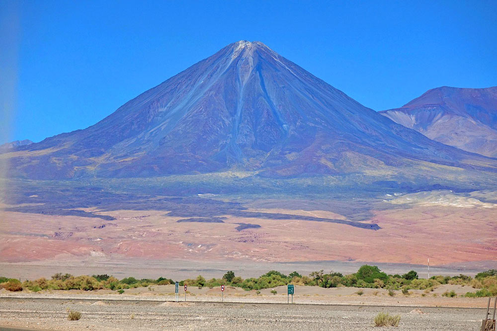 A huge perfectly cone-shaped Lincancabur volcano, Atacama desert
