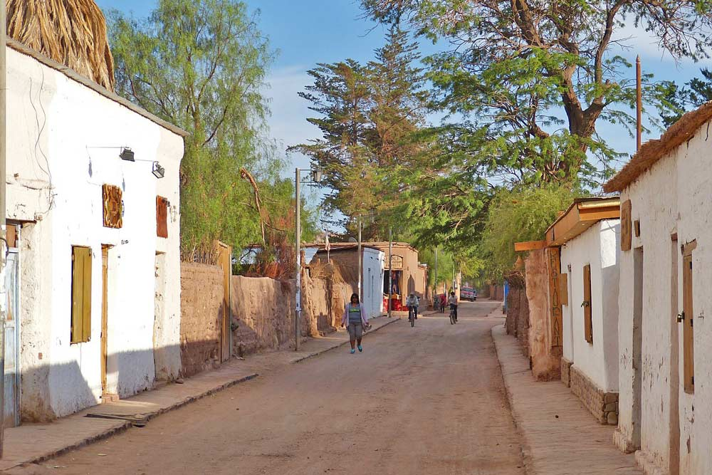 One of the small streets of San Pedro de Atacama with typical local houses