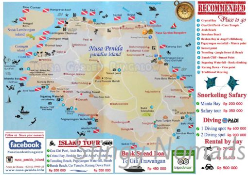 Map of Nusa Penida with dive and land sites. Nusa Penida backpacking guide