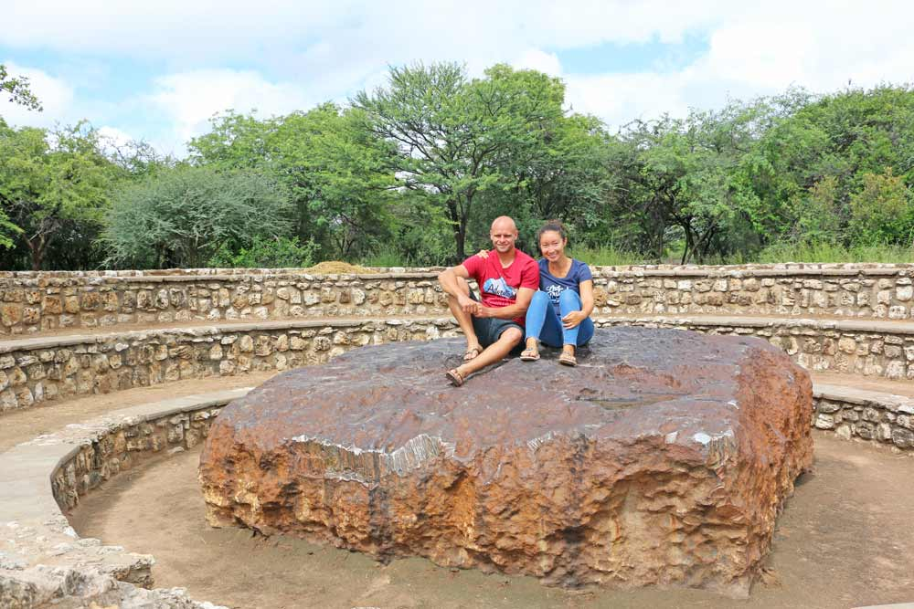 Stingy Nomads with a giant meteorite in Grootfontein