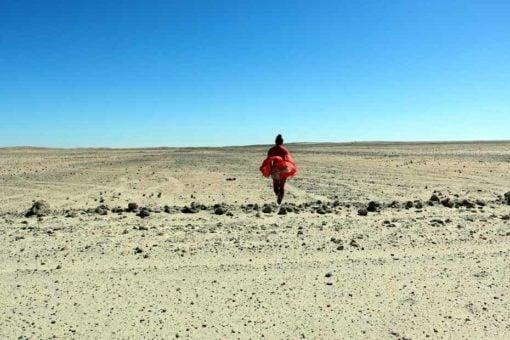 Walking into the desert, Namibia.