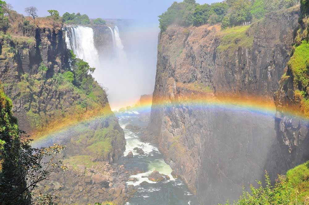 Victoria Falls after the rain season with a rainbow