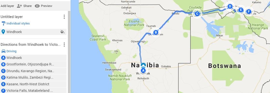 Caprivi road trip map, Windhoek to Victoria Falls.