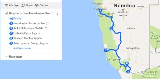 Namibia road trip map, Fishriver canyon - Swakopmund