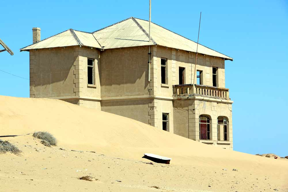 A house in Kolmanskop Ghost Town, an interesting place to visit in Namibia