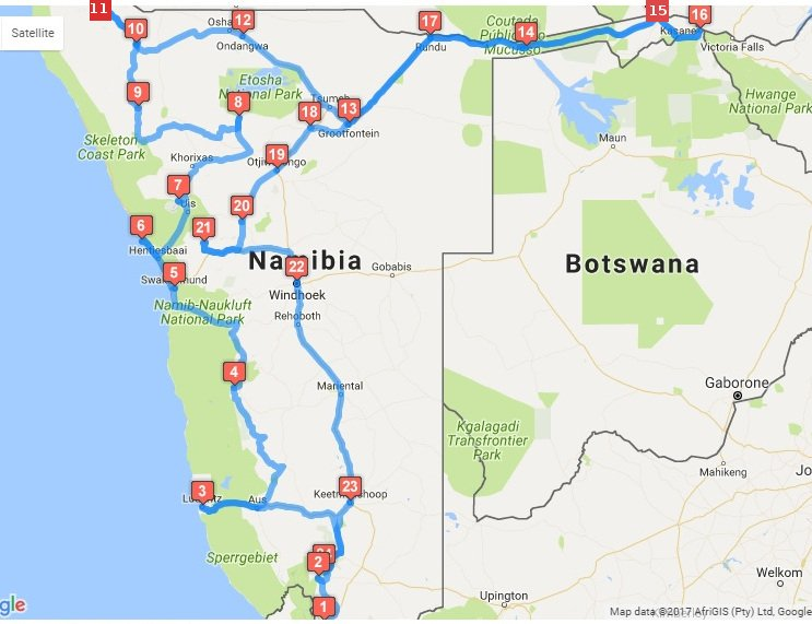 Complete route of our 30-day trip around Namibia