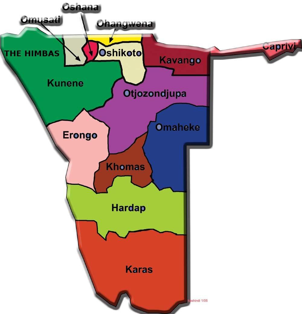 Kunene region, Northern Namibia. Namibia regional map.