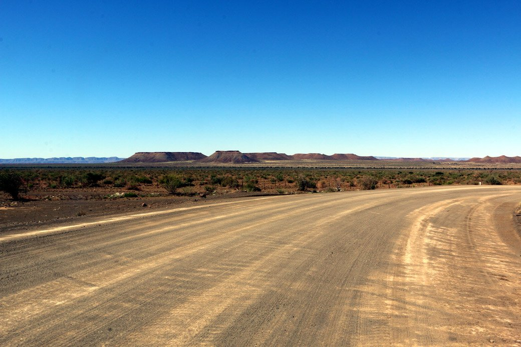 Typical gravel road in Namibia. Namibia travel tips