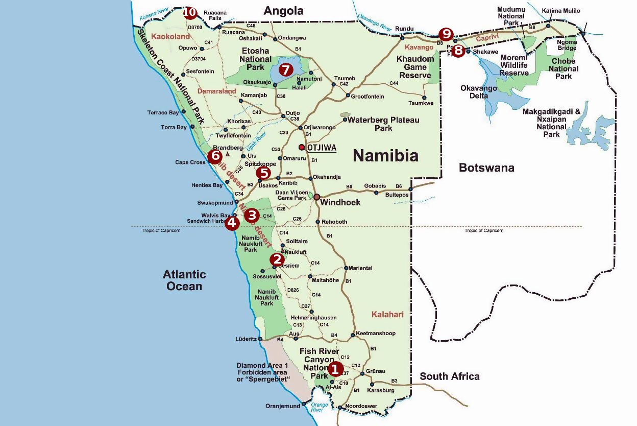 Map of Top 10 places to see in Namibia