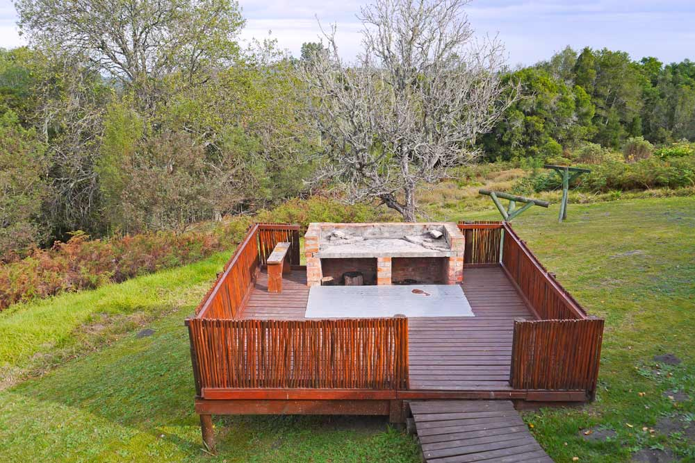 A braai deck at an overnight hut on the trail