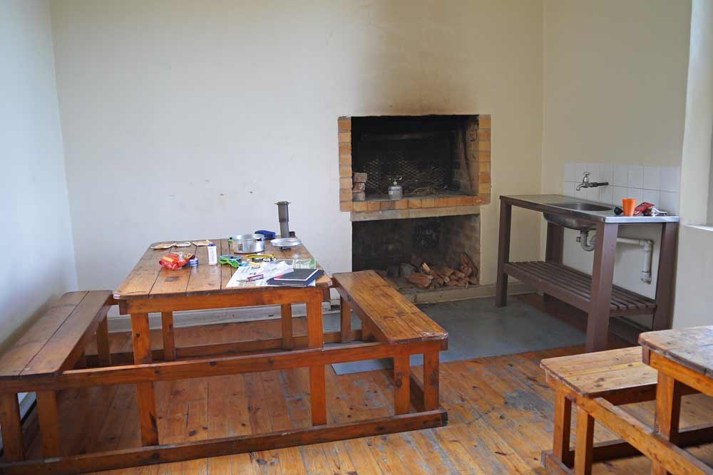A communal dining area in Fisantehoek hut