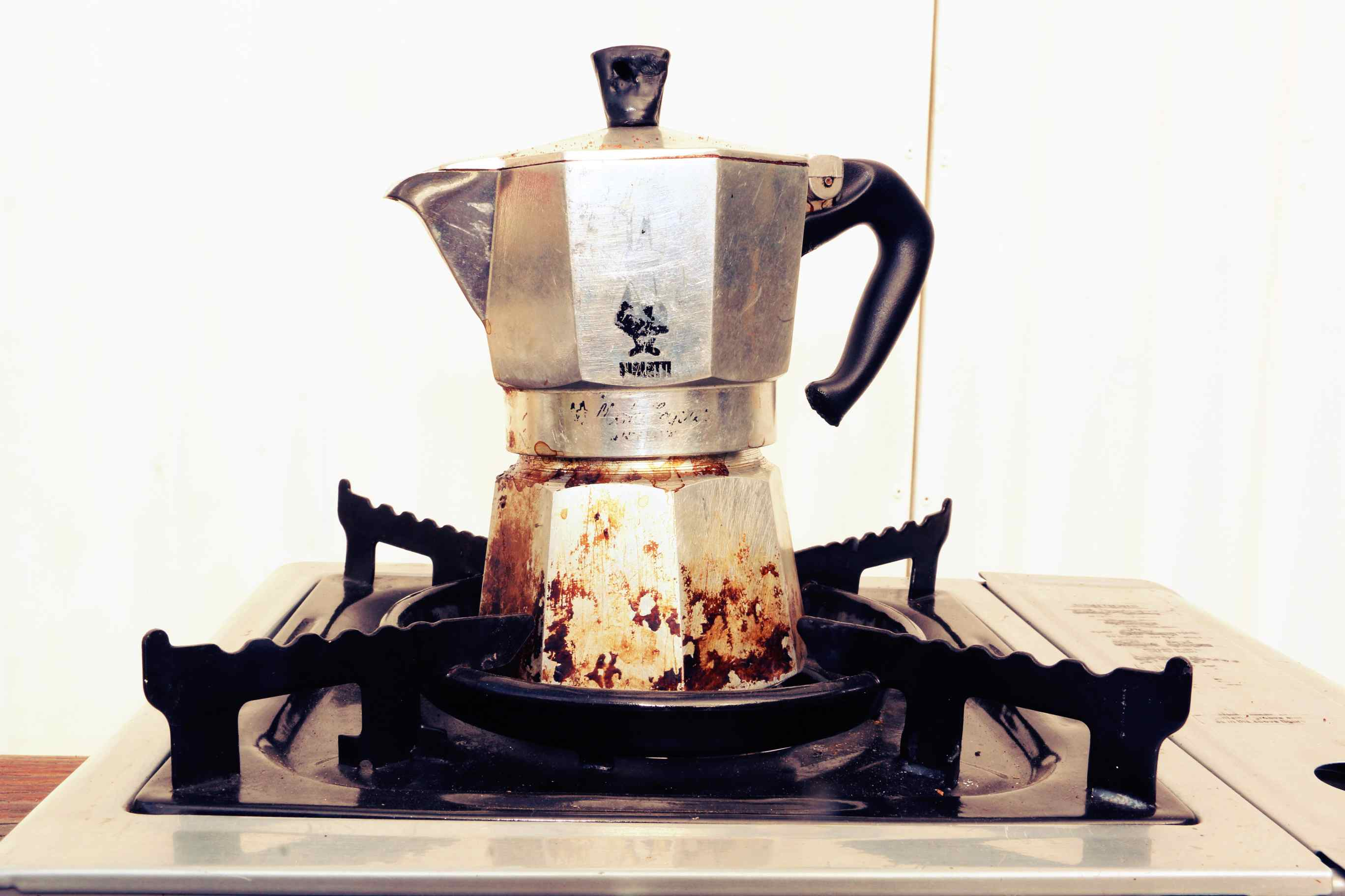 My well worn Bialetti Moka Pot. This stove top coffee pot is the original Italian way to make espresso style coffee. It was a present from an Italian friend and is my favorite way to prepare coffee.