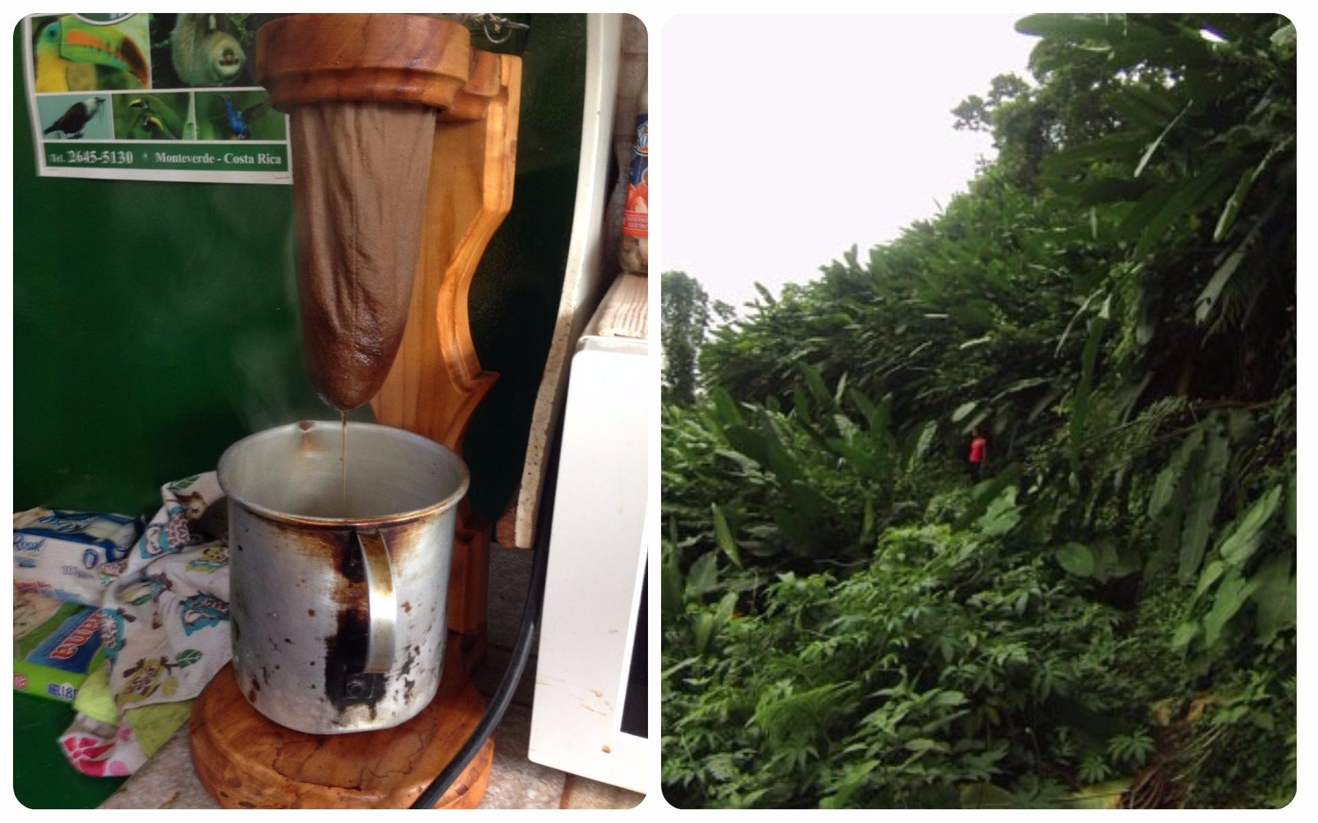 Costa Rica, a beautiful country with lush jungles producing amazing coffee. Coffee is usually made by the drip method through a material sock in a stand.