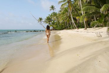 Alya walking around Little Corn Island.