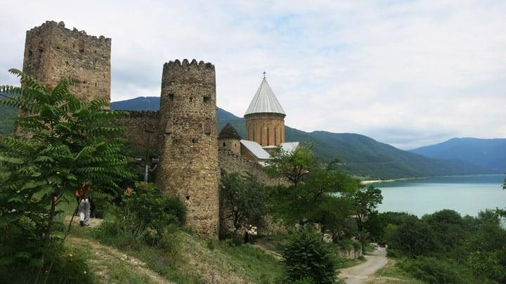 The massive castle complex, Ananuri, located on the Aragavi river. Georgia Backpackers guide.