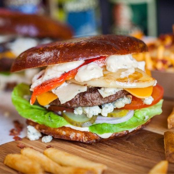 Cheese blast, the best burger ever! Moo Moo burger restaurant.